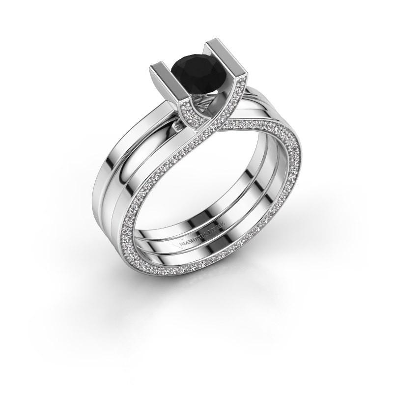 Verlovingsring Kenisha 950 platina zwarte diamant 1.110 crt