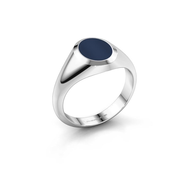 Pinkring Herman 1 375 witgoud donker blauw lagensteen 10x8 mm
