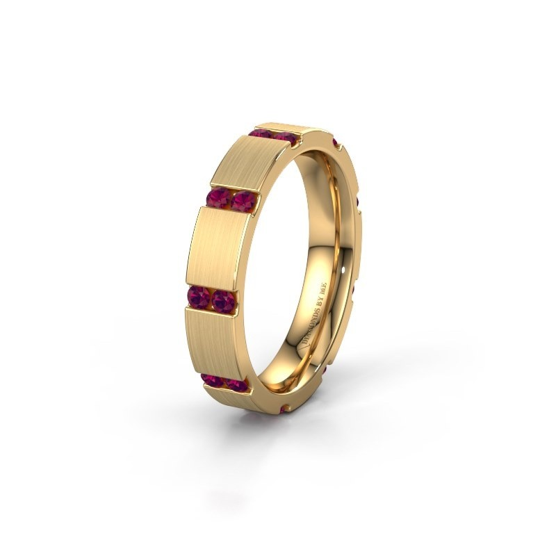 Huwelijksring WH2132L14BM 375 goud rhodoliet ±4x2.2 mm
