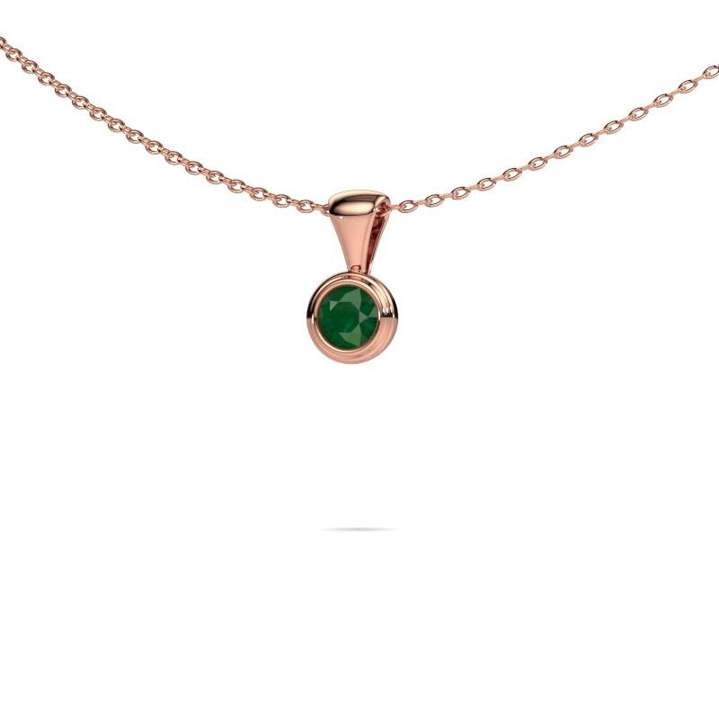 Ketting Lieke 375 rosé goud smaragd 4 mm