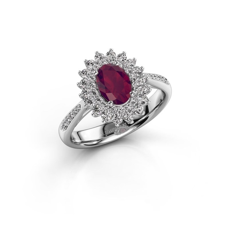 Engagement ring Alina 2 925 silver rhodolite 7x5 mm