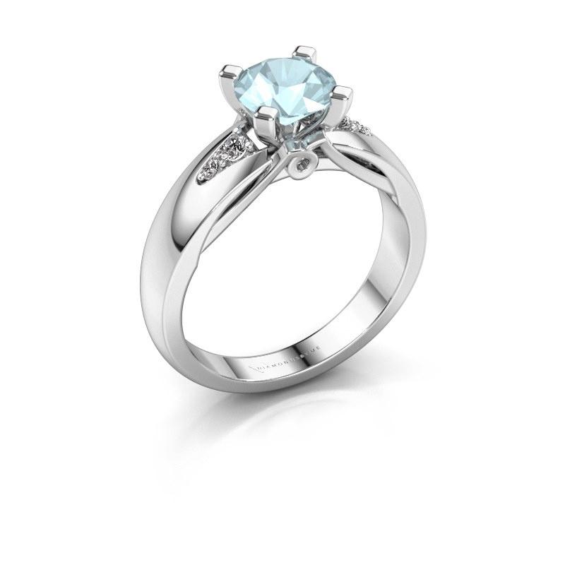 Engagement ring Ize 925 silver aquamarine 6.5 mm