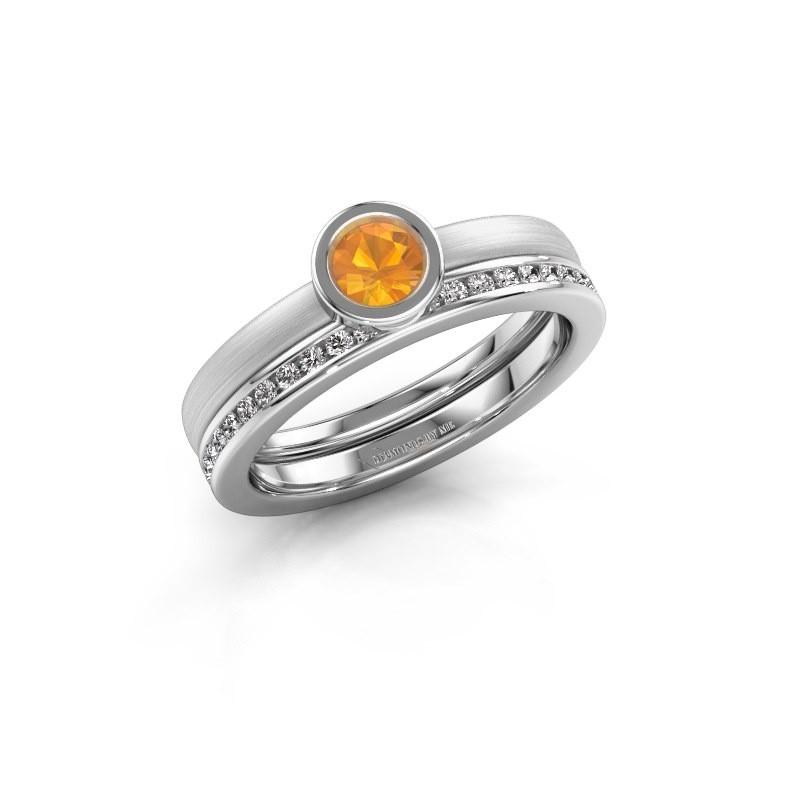 Ring Cara 950 platina citrien 4 mm