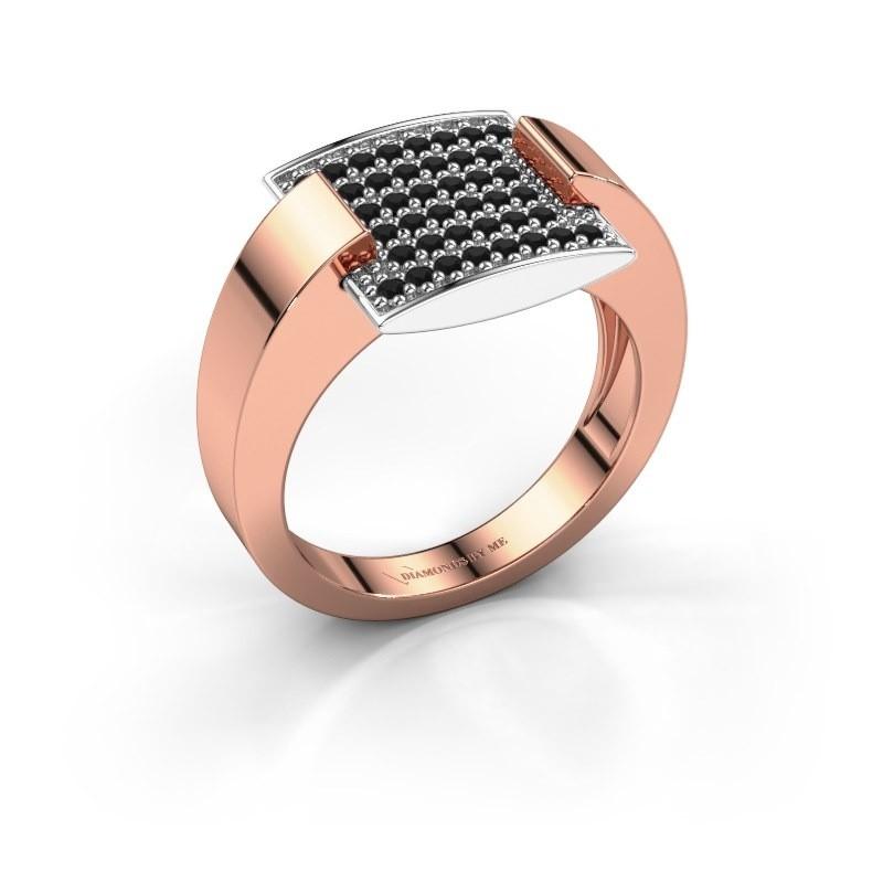 Ring Silke 585 rosé goud zwarte diamant 0.36 crt
