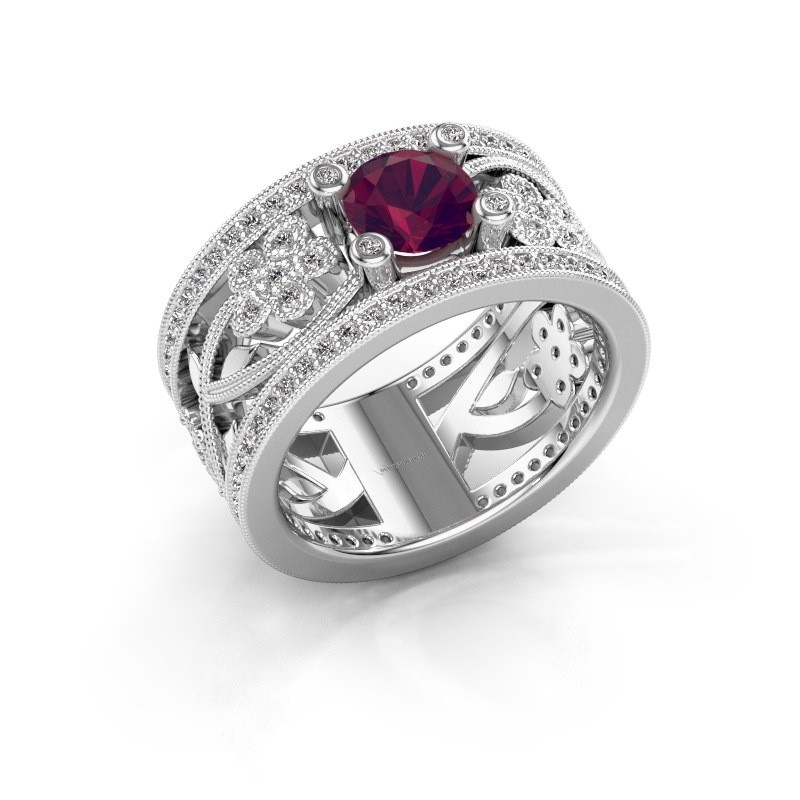 Ring Severine 925 zilver rhodoliet 6 mm