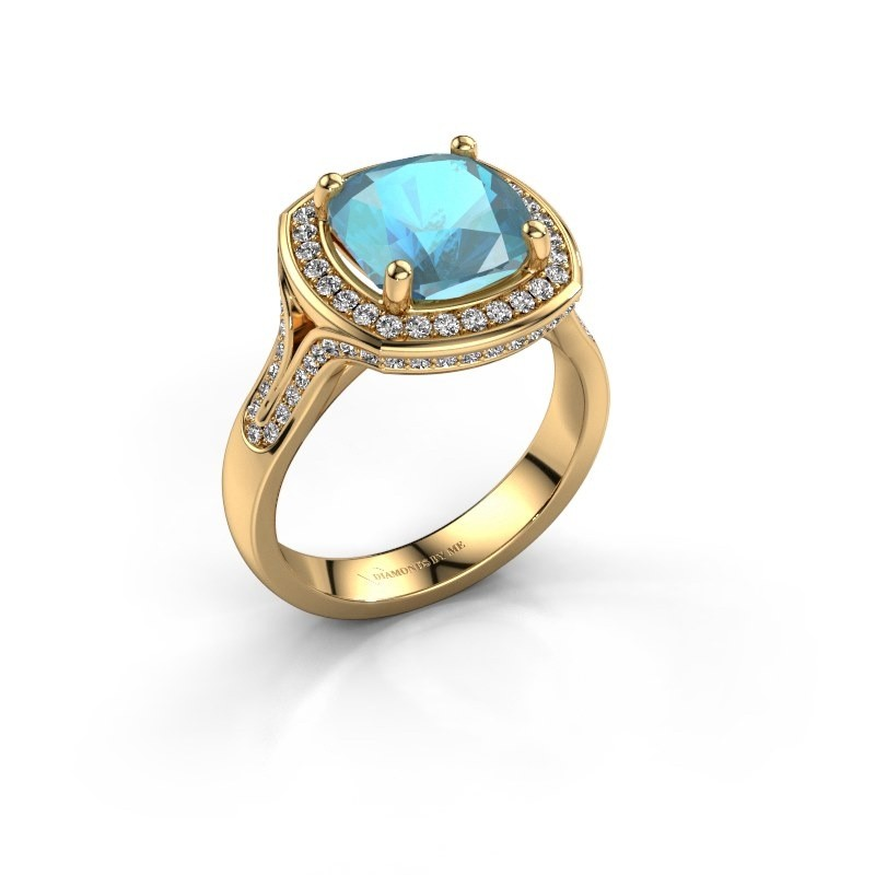 Ring Lili 375 goud blauw topaas 9 mm