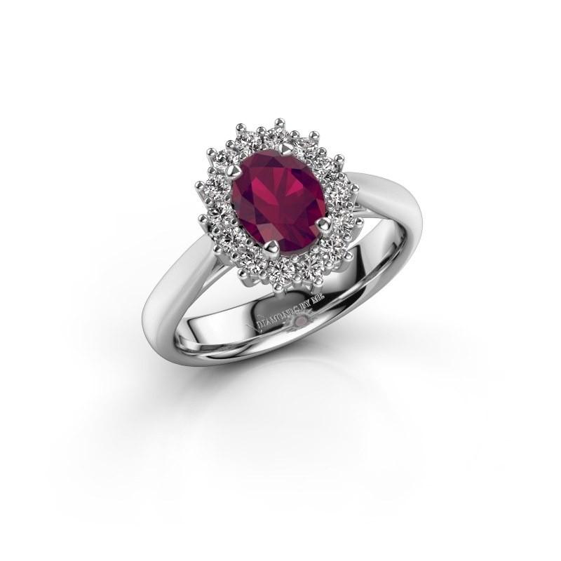 Engagement ring Margien 1 925 silver rhodolite 7x5 mm