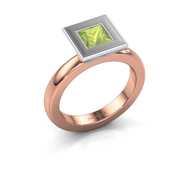 Stapelring Eloise Square 585 rosé goud peridoot 5 mm