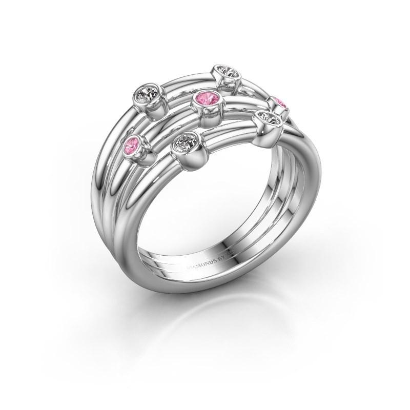 Ring Chloe 925 Silber Pink Saphir 2 mm