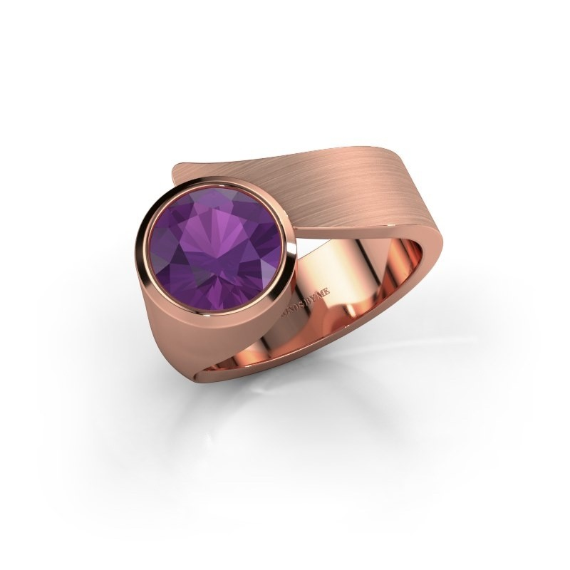 Ring Nakia 375 rosé goud amethist 8 mm