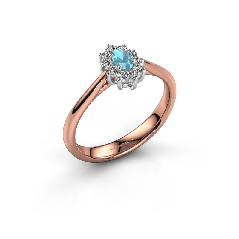 Verlovingsring Leesa 1 585 rosé goud blauw topaas 6x4 mm