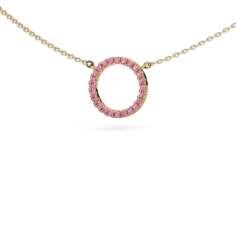 Hanger Circle 375 goud roze saffier 1.2 mm