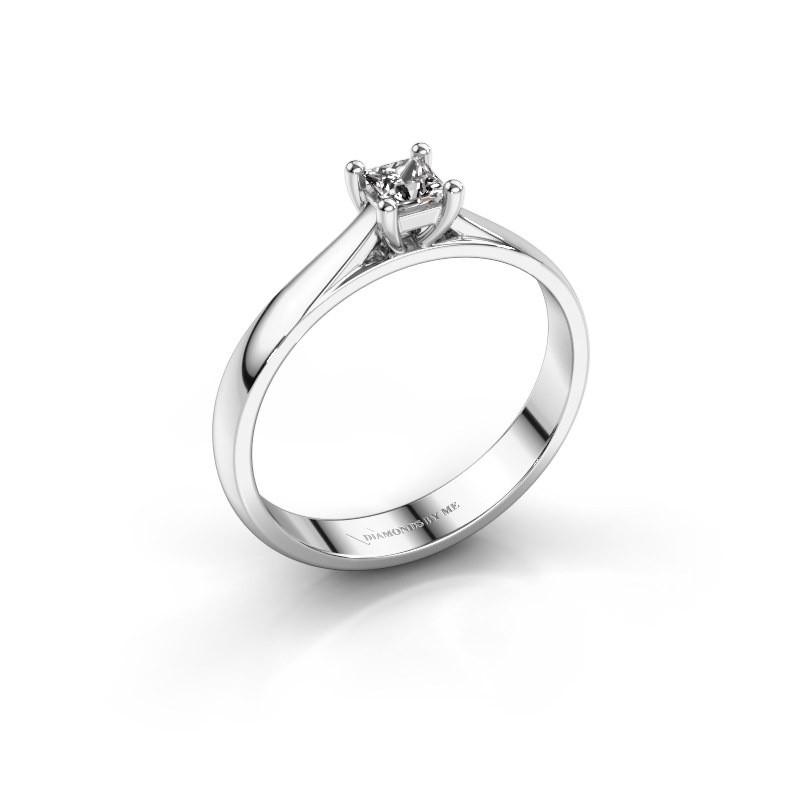 Engagement ring Sam Square 925 silver diamond 0.25 crt