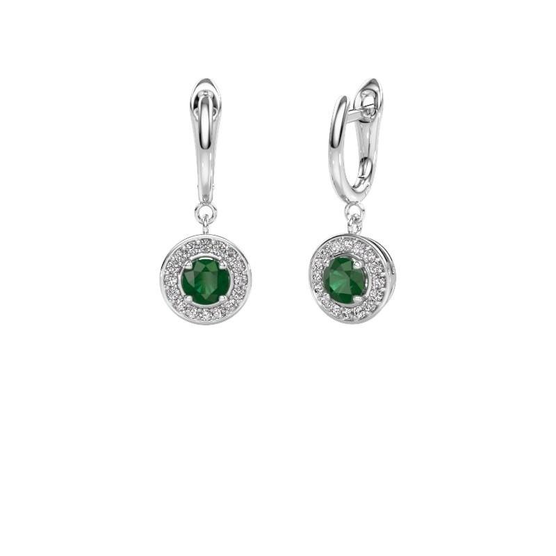 Oorhangers Ninette 1 950 platina smaragd 5 mm