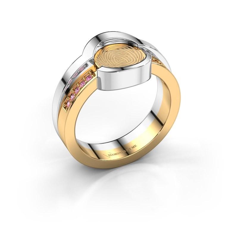 Ring Leander 585 goud roze saffier 0.8 mm