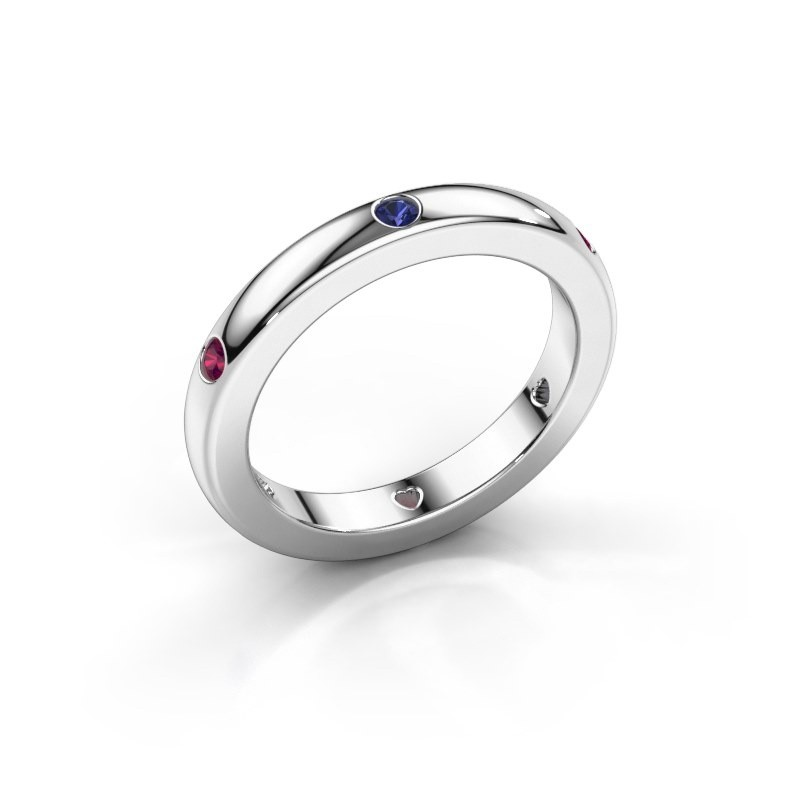 Stackable ring Charla 375 white gold sapphire 2 mm