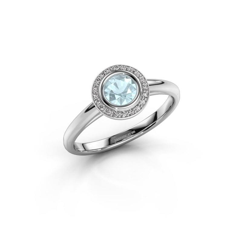 Promise ring Noud 1 RND 585 white gold aquamarine 4.7 mm
