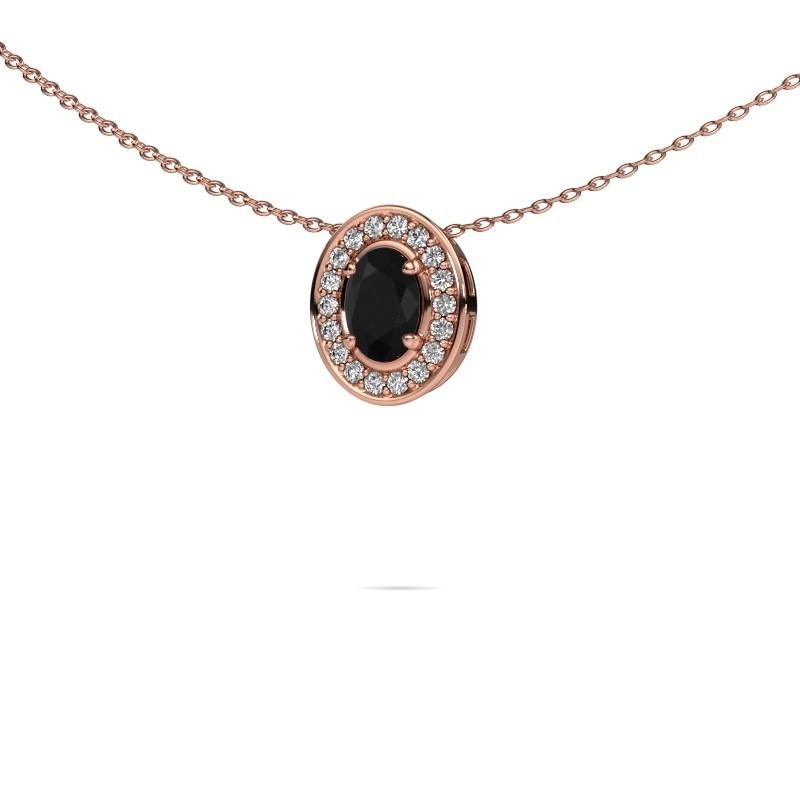 Ketting Madelon 375 rosé goud zwarte diamant 0.78 crt