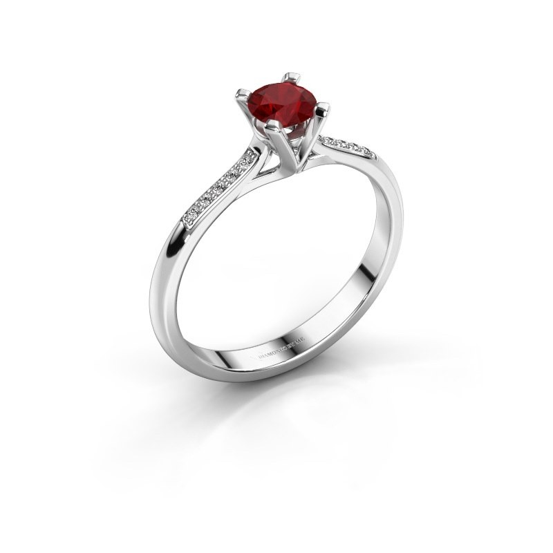 Engagement ring Isa 2 585 white gold ruby 4.2 mm