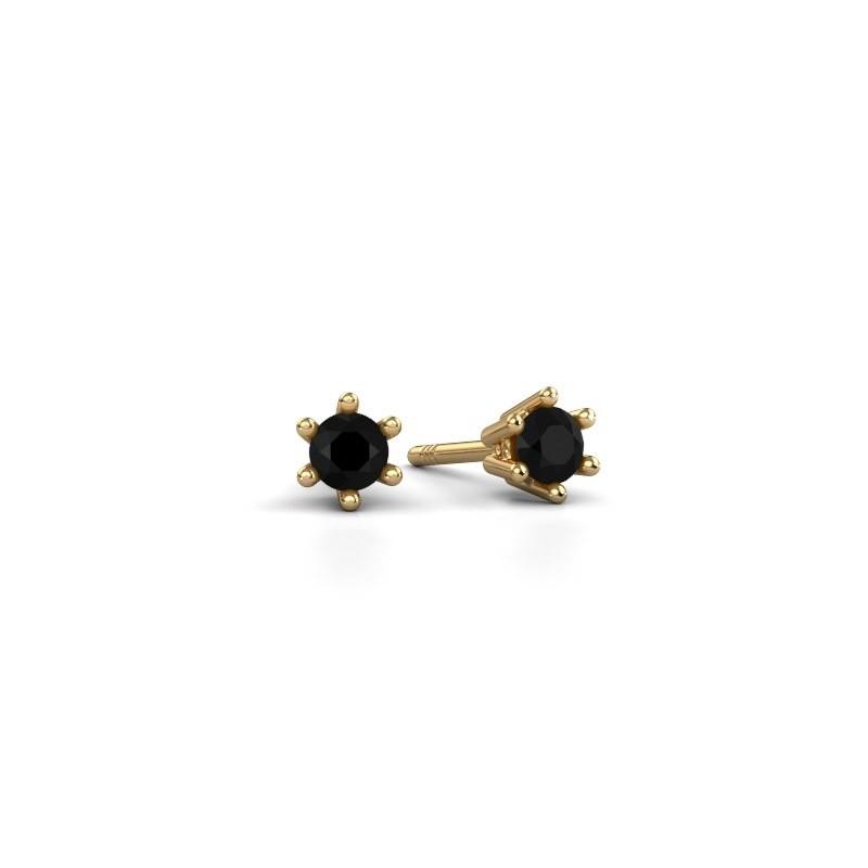 Oorbellen Fay 375 goud zwarte diamant 0.18 crt