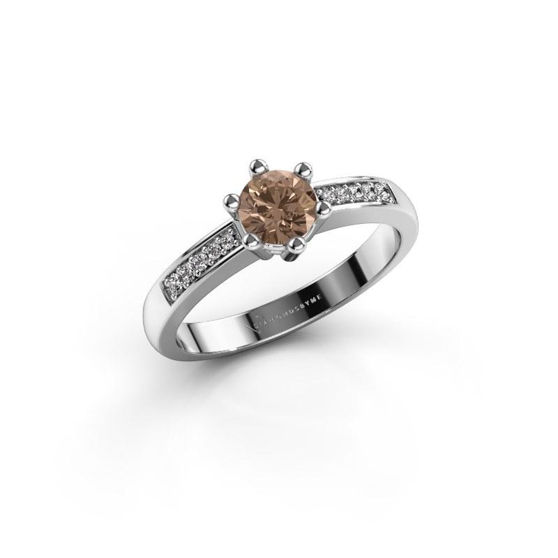 Verlovingsring Luna 2 950 platina bruine diamant 0.50 crt