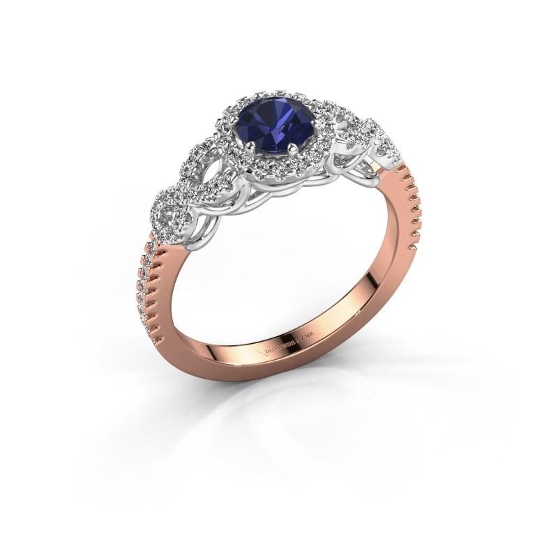 Engagement ring Sasja 585 rose gold sapphire 5 mm