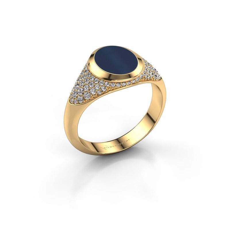 Signet ring Susana 585 gold dark blue sardonyx 10x8 mm