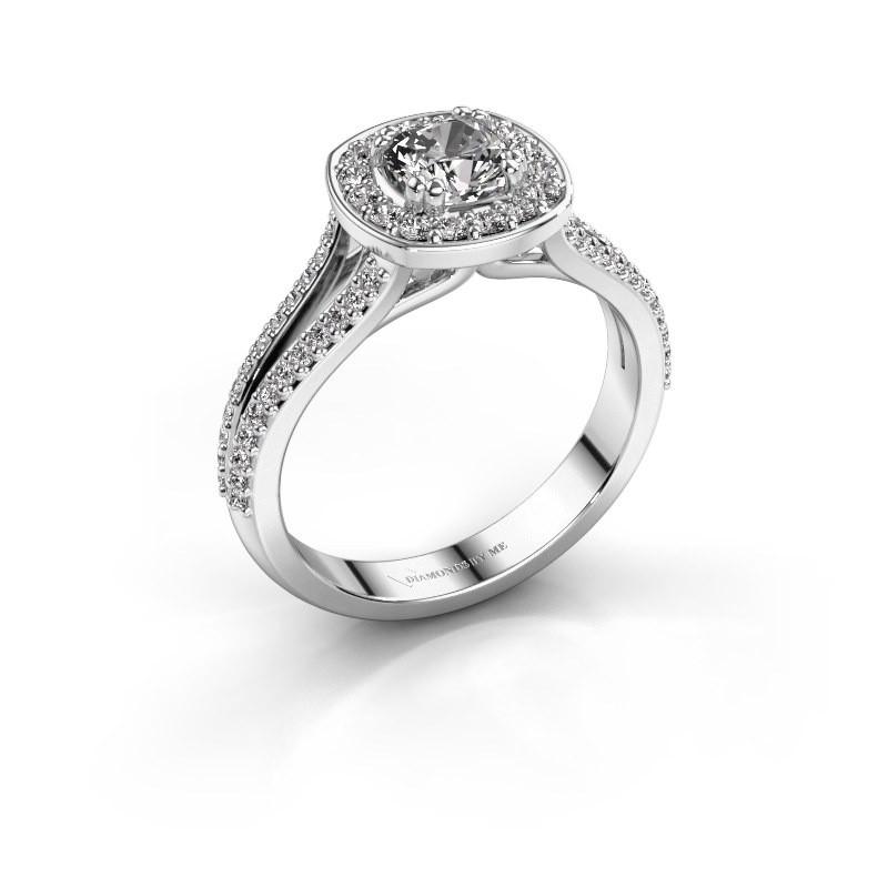 Engagement ring Carolina 2 950 platinum zirconia 5 mm