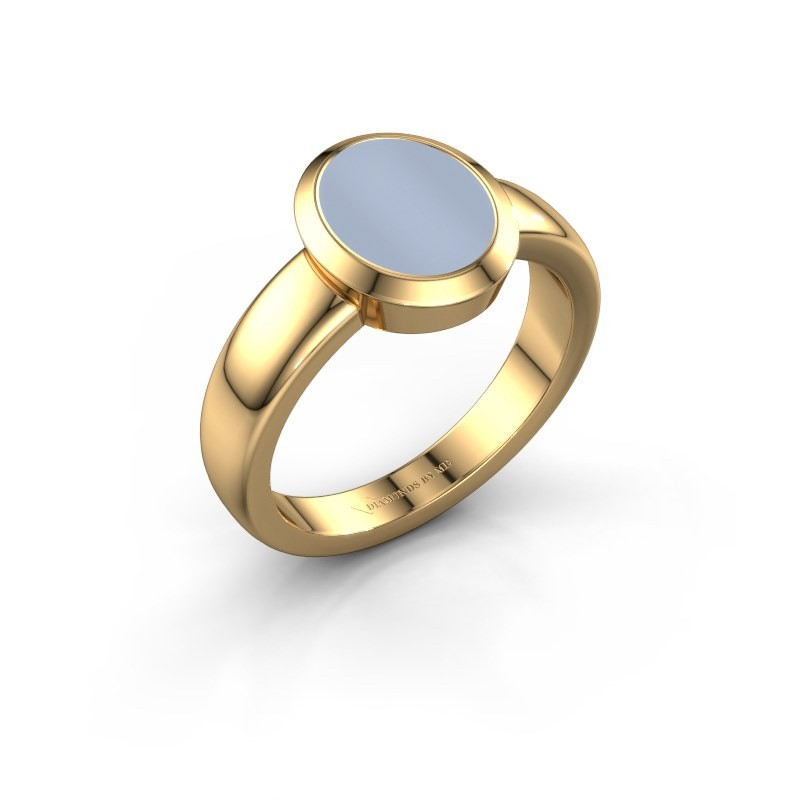 Signet ring Freeda 1 585 gold light blue sardonyx 10x8 mm