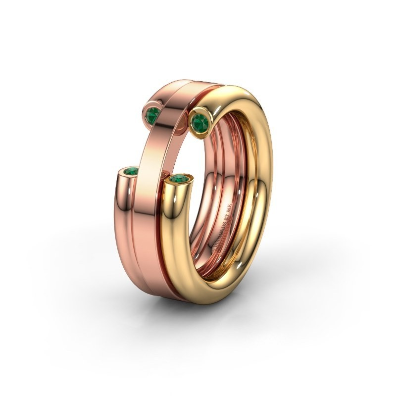 Wedding ring WH6018L 585 gold emerald ±8x3 mm