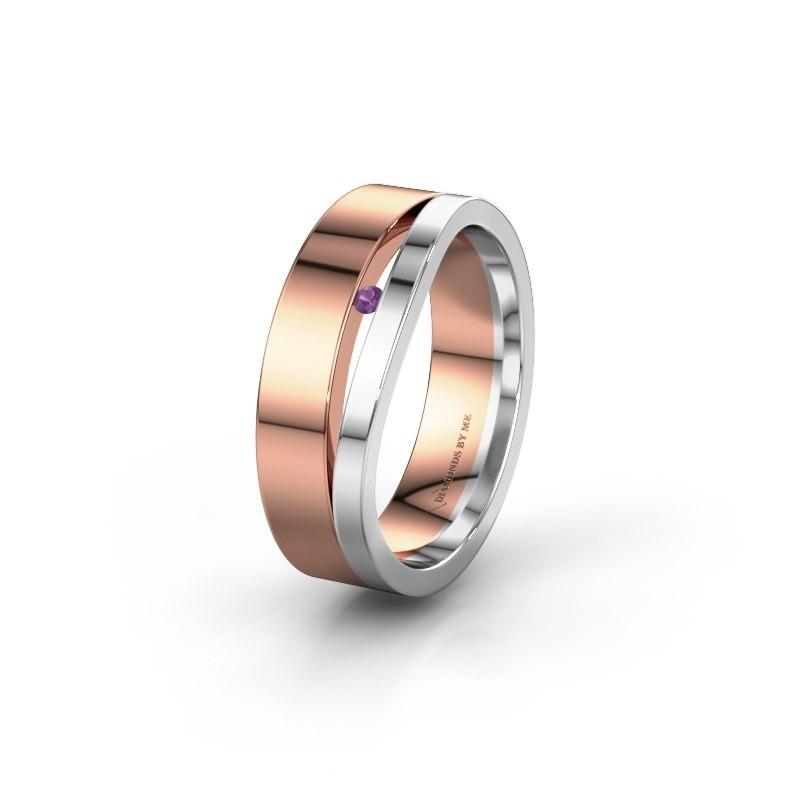 Trouwring WH6000L16AP 585 rosé goud amethist ±6x1.7 mm