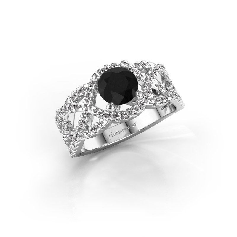 Verlovingsring Jeni 585 witgoud zwarte diamant 1.723 crt