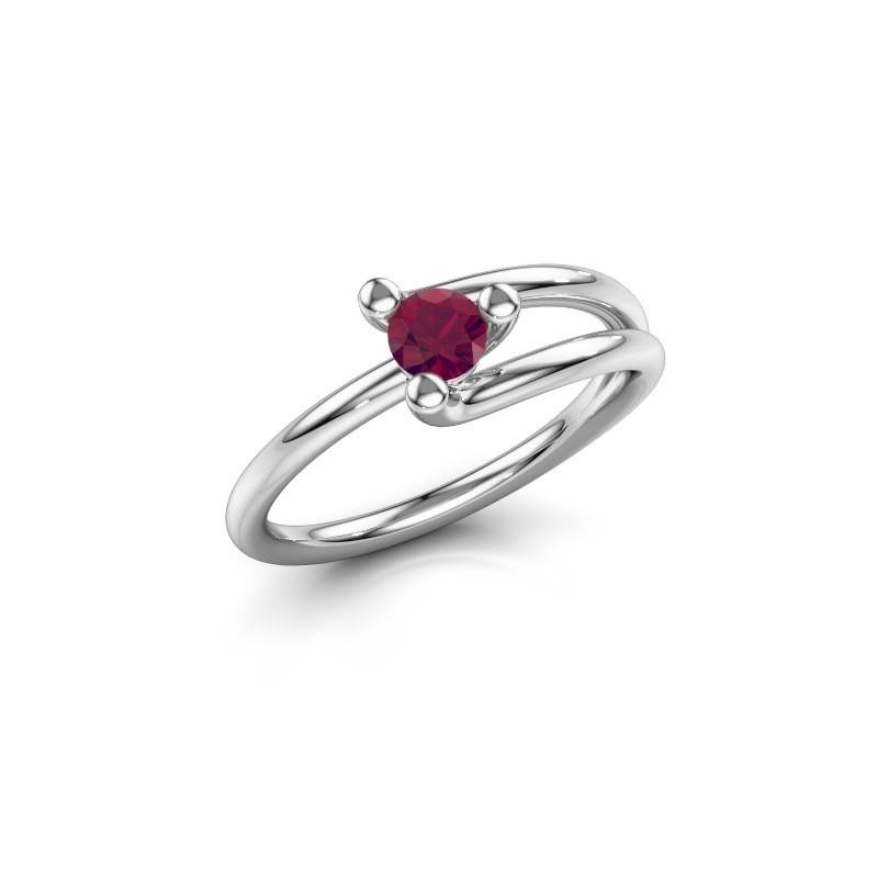 Engagement ring Roosmarijn 925 silver rhodolite 4 mm