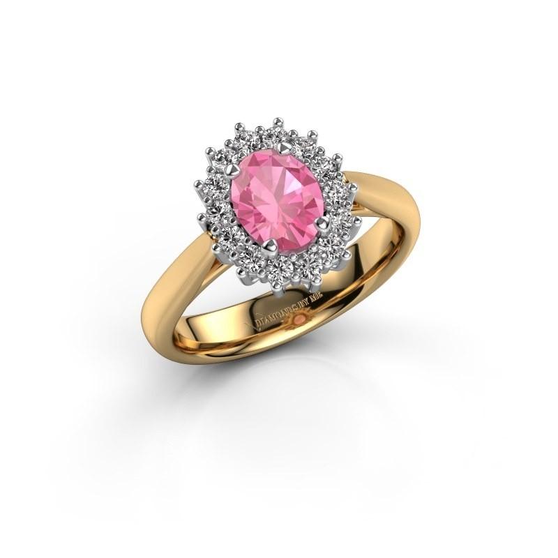 Verlovingsring Margien 1 585 goud roze saffier 7x5 mm