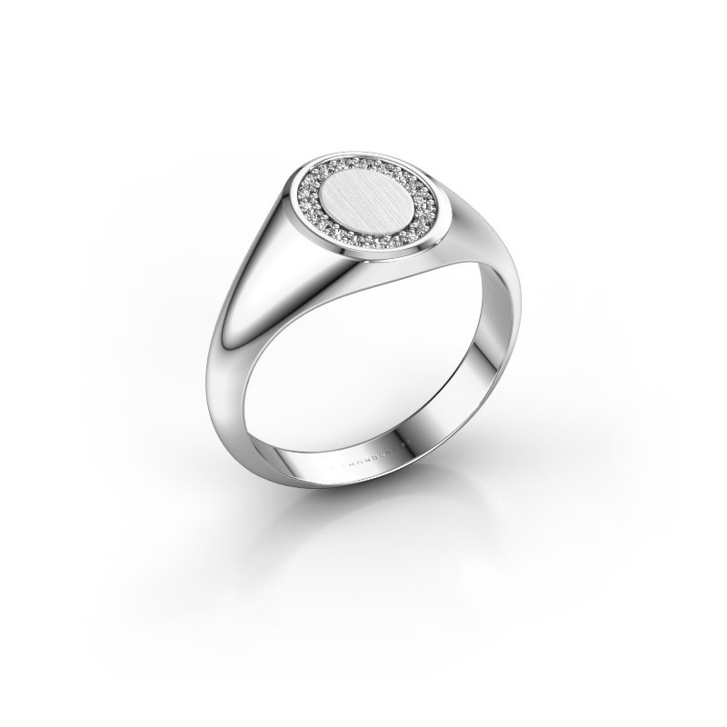 Pinky ring Floris Oval 1 375 white gold zirconia 1.2 mm