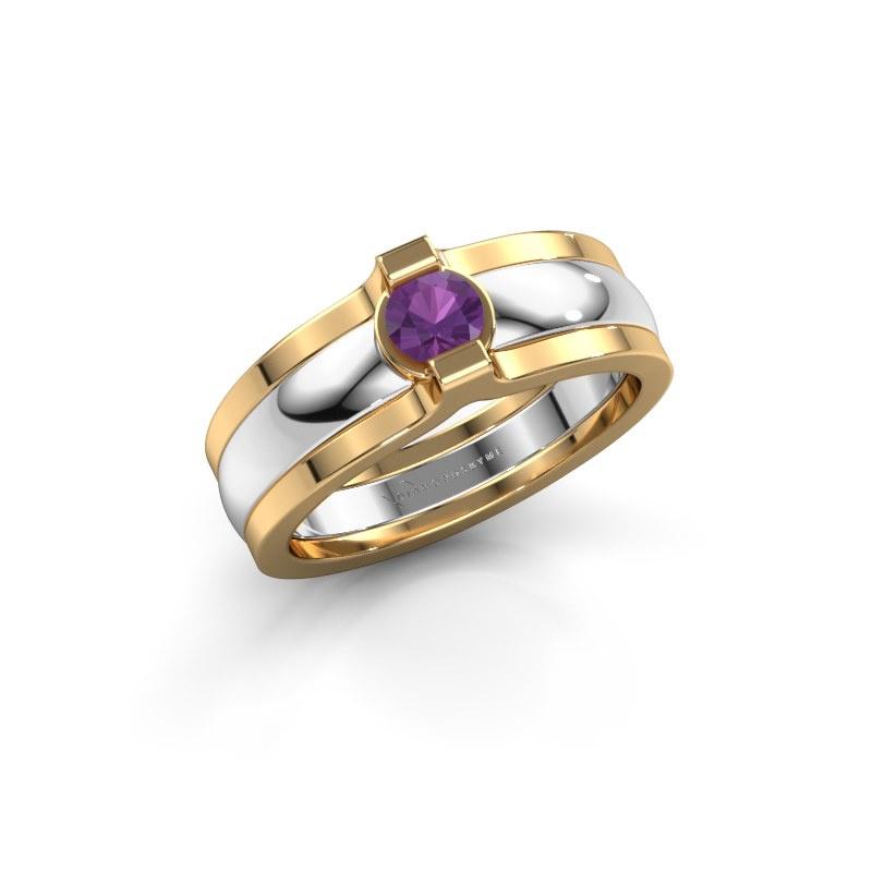 Ring Jade 585 Weißgold Amethyst 4 mm