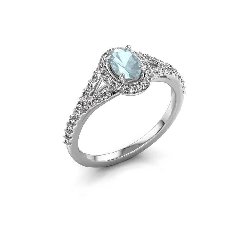 Belofte ring Pamela OVL 585 witgoud aquamarijn 7x5 mm