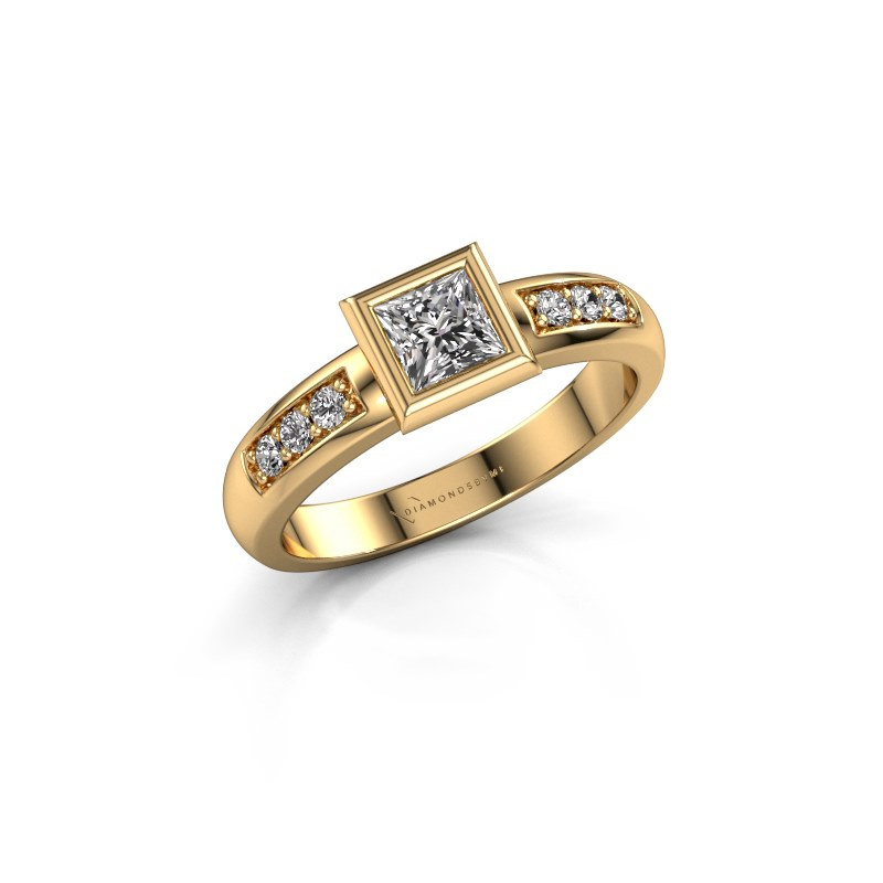 Stacking ring Lieke Square 585 gold zirconia 4 mm
