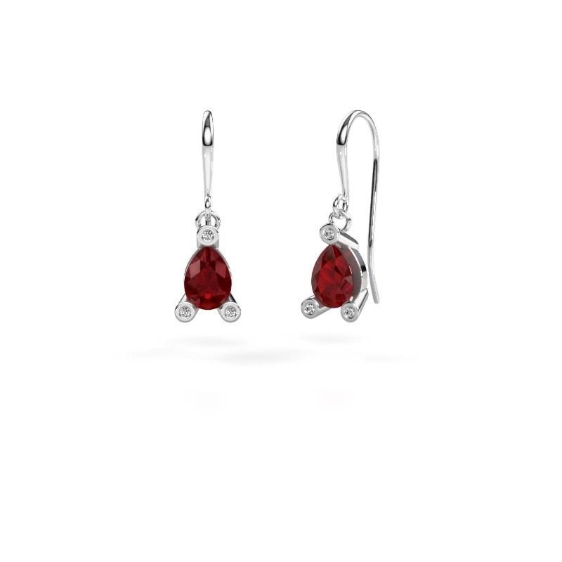 Drop earrings Bunny 1 375 white gold ruby 7x5 mm
