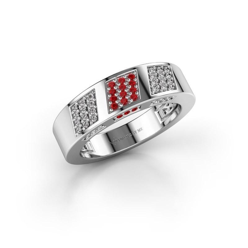 Ring Jessika 925 zilver robijn 1.1 mm
