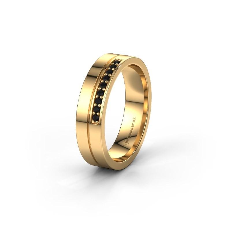 Trouwring WH0213L15AP 585 goud zwarte diamant ±5x1.7 mm