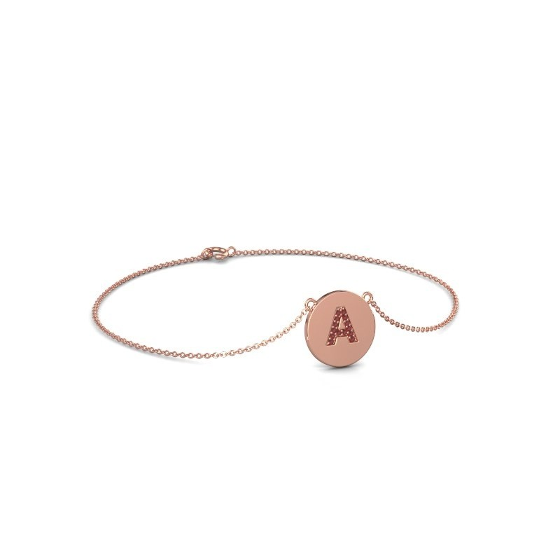 Bracelet Initial 050 375 or rose rubis 1 mm