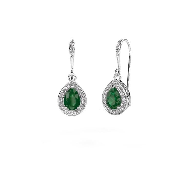 Drop earrings Beverlee 2 585 white gold emerald 7x5 mm