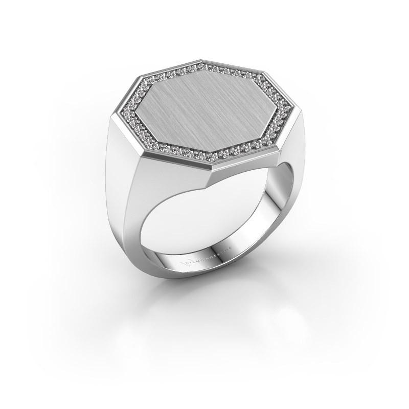 Men's ring Floris Octa 4 375 white gold diamond 0.30 crt