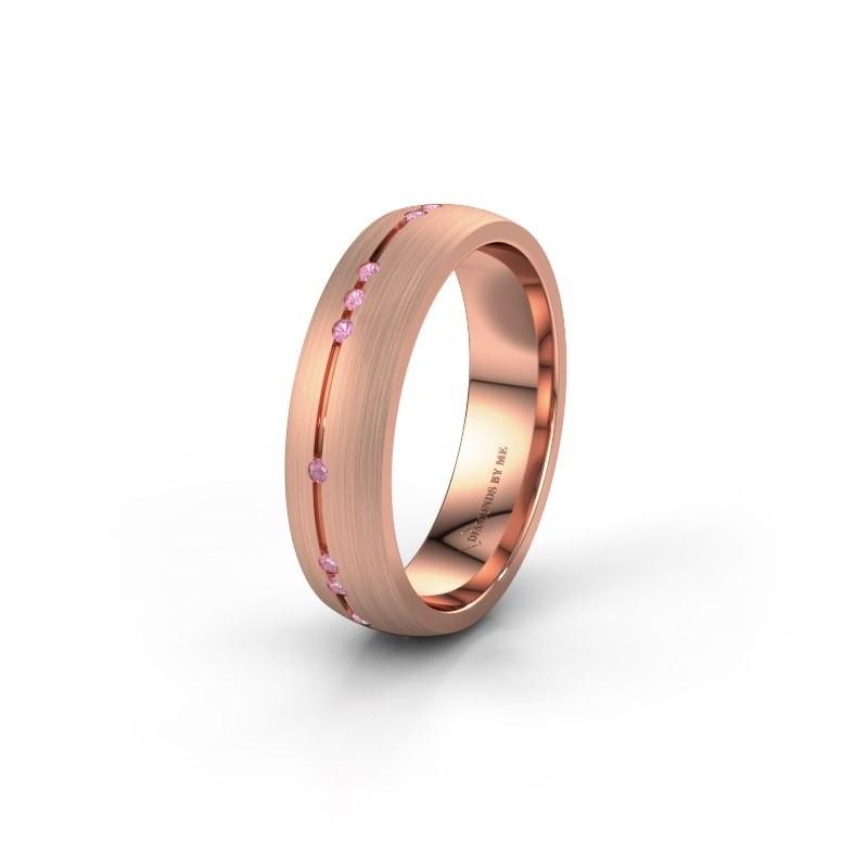 Trouwring WH0166L25A 585 rosé goud roze saffier ±5x1.7 mm