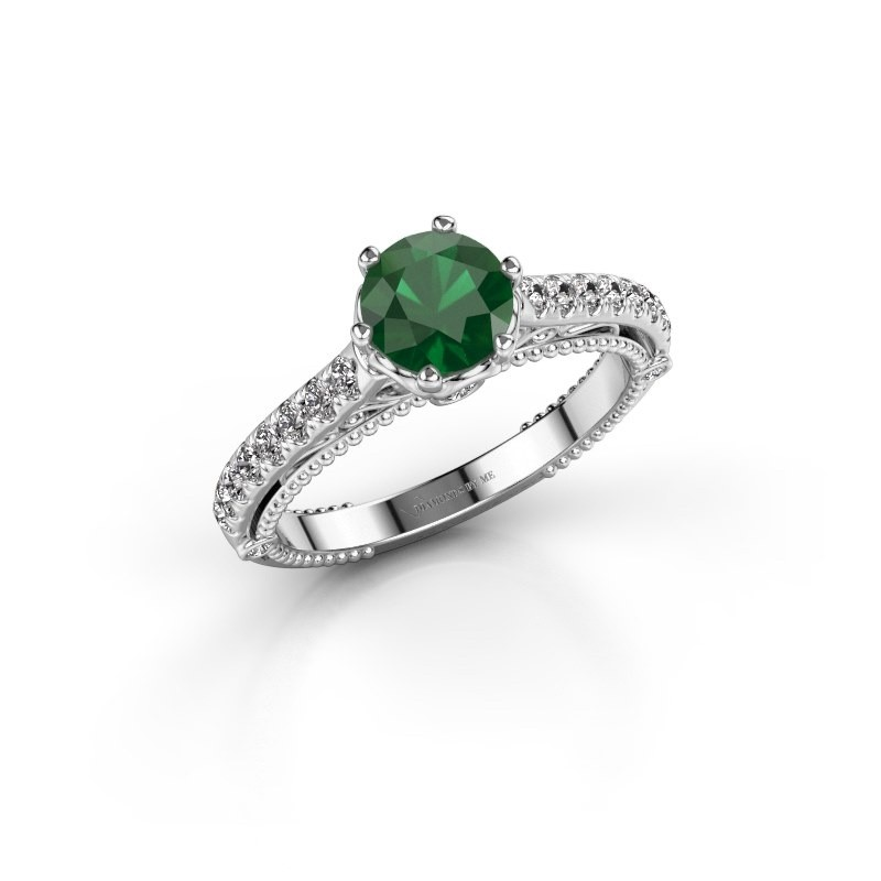 Engagement ring Venita 585 white gold emerald 6.5 mm
