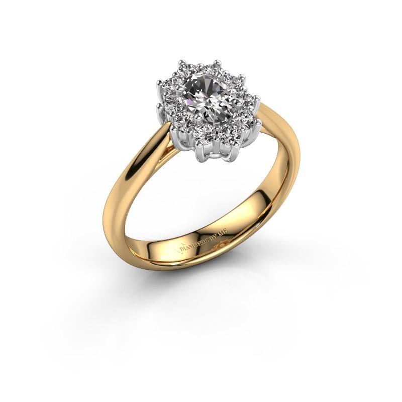 Verlovingsring Leesa 1 585 goud zirkonia 6x4 mm