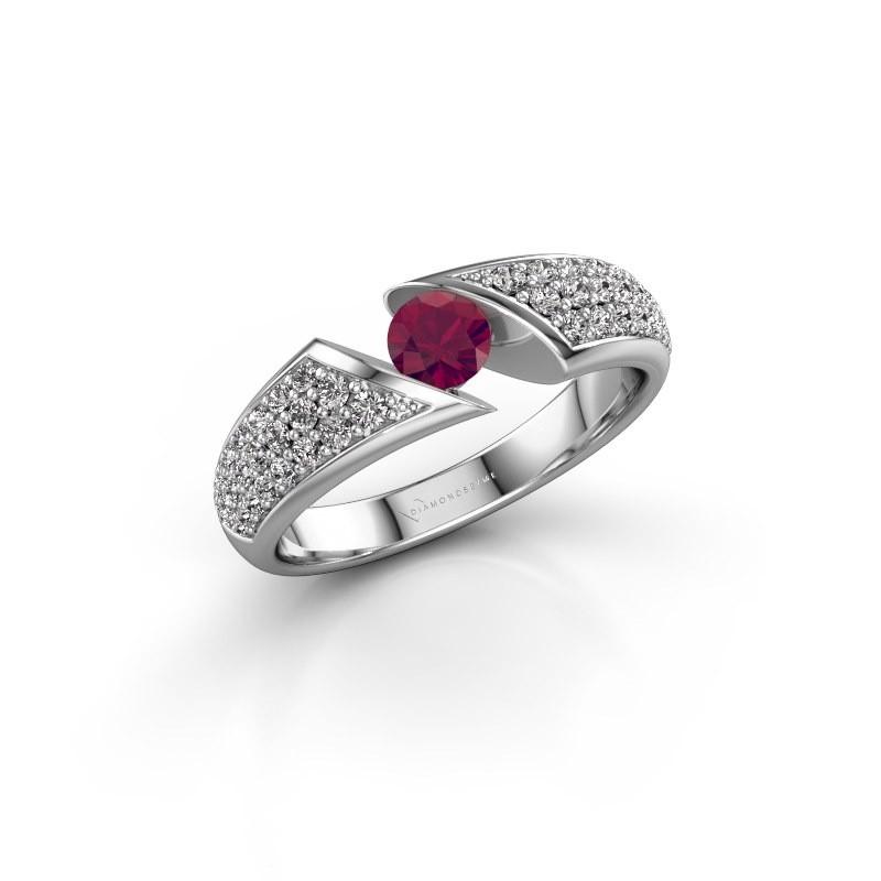 Engagement ring Hojalien 3 950 platinum rhodolite 4.2 mm