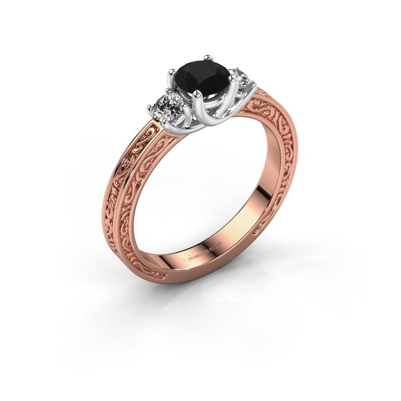 Verlovingsring Betty 1 585 rosé goud zwarte diamant 0.80 crt