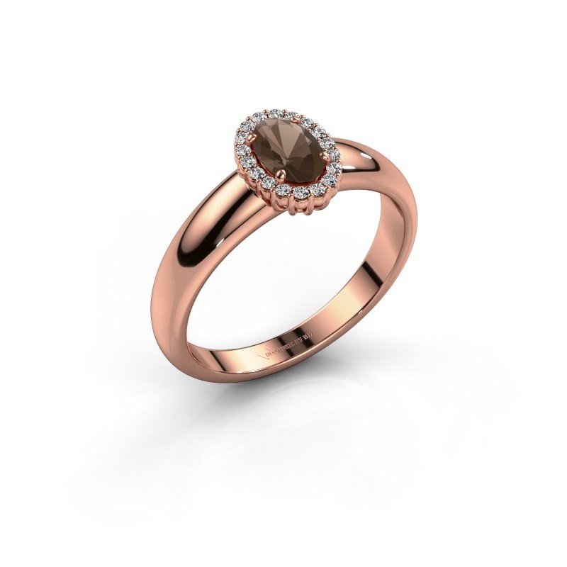 Engagement ring Tamie 375 rose gold smokey quartz 6x4 mm